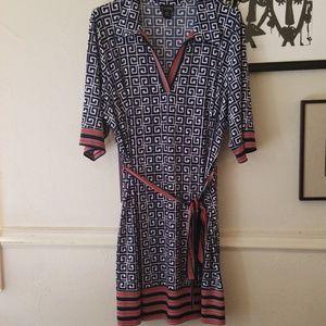 Dresses & Skirts - En Focus white, navy red dress poly spandex